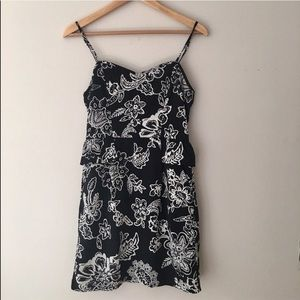 American Eagle Outfitters B&W Floral Peplum Dress